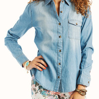 button-up-denim-top DARKBLUE LIGHTBLUE - GoJane.com