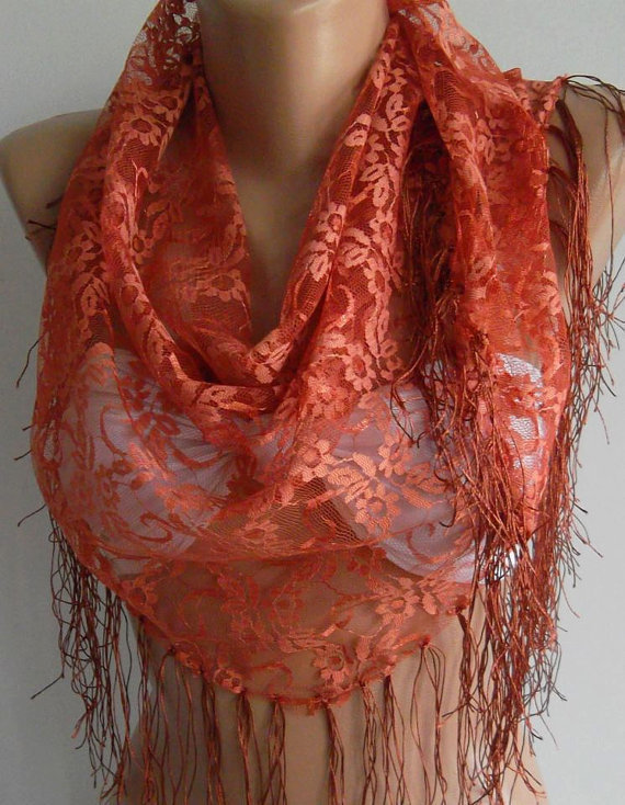 Copper Color -- lace and Elegance Shawl -- Scarf -- with Lace Edge....