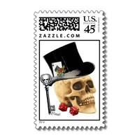 Gothic gambler skull tattoo design postage stamp from Zazzle.com