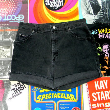 Vintage Riders High Waisted Shorts - 90s Faded Black Stretch Jean Shorts - High Waist, Frayed, Rolled Up, Cuffed Denim Shorts Size 14 L