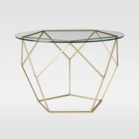 Origami Side Table – Glass/Antique Brass