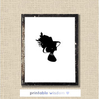 Victorian Silhouette Print, vintage printable art wall decor poster - digital, custom