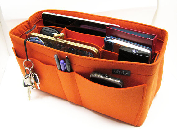 X3. Orange felt bag organizer  - X large size for travel (W 14in H 6.7in D 5.5in ), also for a school / baby bag, desk, car &amp; etc.