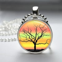 Round Glass Bezel Pendant Tree Pendant Tree Necklace Photo Pendant Art Pendant With Silver Ball Chain (A3575)
