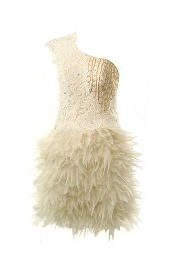 One Shoulder Lace Feather Dress by McBerry Cream, McBerry Party Wear Dresses, Prom dresses, Prom Dress, Evening wear