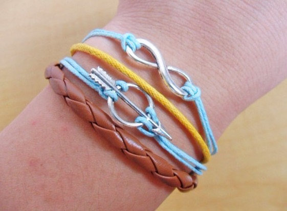 Bangle infinity wish bracelet ropes bracelet leather bracelet women bracelet girls bracelet made of ropes leather and infinity  SH-2293