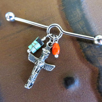 Totem Pole Industrial Barbell Piercing Turquoise Coral Charm Scaffold Tribal Native American Ear Jewelry