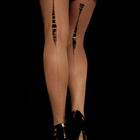 Hand Printed EXCLUSSIVE Tights - Charleston, Black on Sheer skin color, Flash Back collection