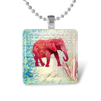 Glass Tile Pendant Elephant Pendant Elephant Necklace With Silver Ball Chain (A2945)