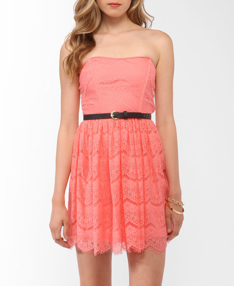 Strapless Eyelash Lace Dress