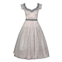 Norman Hartnell - 1950's Norman Hartnell Beaded Ivory-Creme Lace & Satin Dress