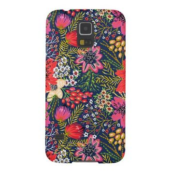 Vintage Bright Floral Pattern Fabric Galaxy S5 Covers