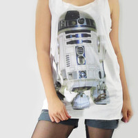 R2-D2 Robot Star Wars Classic Film Movie Shirt Tank Top Women T-Shirt Singlet Tank Top T-Shirt Vest Tunic Women Shirt White T-Shirt Size S M