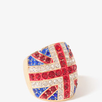 Rhinestoned Union Jack Ring
