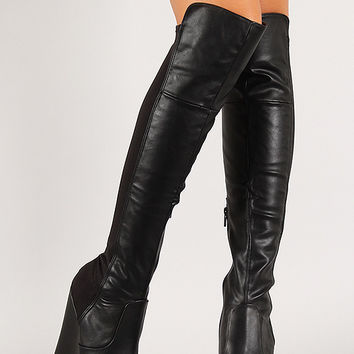 mixed media platform wedge thigh high from urbanog things i