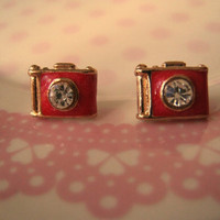 Camera Earrings (Camera Stud Earrings)  - Red