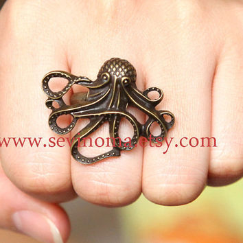 vintage style antiqued brass deep-sea octopus adjustable ring
