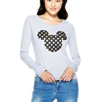Foil Polka Dot Mickey Long-Sleeve Top