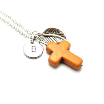 Personalized Cross Necklace, Orange gemstone, Hand stamped, Monogram Necklace, Initial Necklace, Religious Necklace, Custom Necklace, Cross