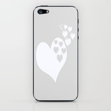 Gray White Hearts of Love iPhone & iPod Skin by BeautifulHomes