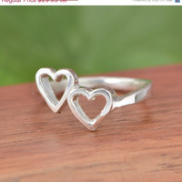 SALE Sterling Silver Double Heart Ring - Heart Ring - Two Heart Ring - Silver Ring - Sterling Ring - Heart Jewelry