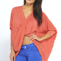 Coral Oversized Twist Front Top with Bat Wing Sleeves