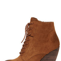 Very Volatile Arlington Tan Suede Leather Lace-Up Wedge Booties