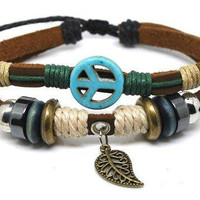 10% OFF Blue Anti-war peace peaceful  Adjustable Couple bracelets Cuff made of Brown Leather Ropes and Color Wooden Beads  239S2
