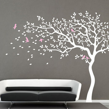 Shop kids tree wall decal on wanelo for Black and white tree wallpaper mural