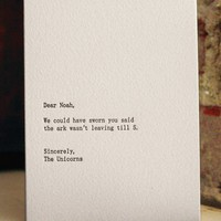dear noah letterpress card by shopsaplingpress on Etsy