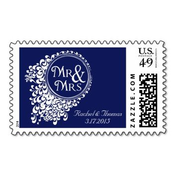 Mr & Mrs Vintage Royal Blue Wedding Stamps
