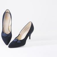 Blue Suede Heels with Bow - Deadstock