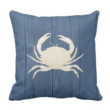 Crab Cream Vintage Blue Wood Pillow