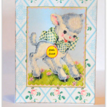 Baby Boy or Girl Handmade Greeting Card, Retro Inspired Card, Vintage Inspired Card, Little Lamb