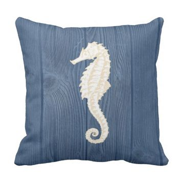 Sea Horse Cream Vintage Blue Wood Pillow