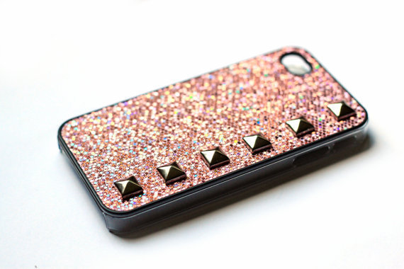 Barbie pink sparkle Studded cellphone cover, Hard case, iPhone Cover, cover for Android,trendy, iPhone 4s, iPhone 4,
