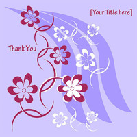 Thank You Card - Purple, Floral Design - Printable File