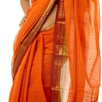 Orange Narayanpet Sari with Fine Checks
