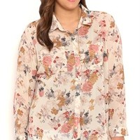 Plus Size Long Sleeve Vintage Floral Button Front Top with Pieced Back