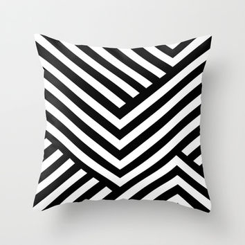 Black and White Stripes Throw Pillow by Liv B