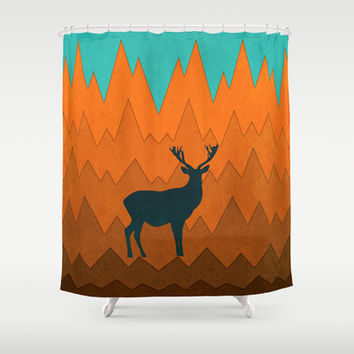 Deer silhouette in autumn Shower Curtain by eDrawings38 | Society6