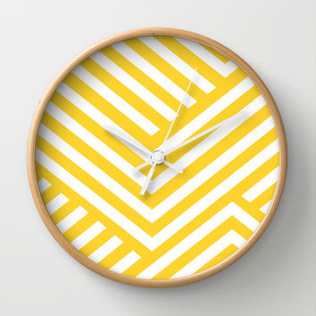 Yellow and White Stripes Wall Clock by Liv B