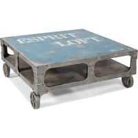 Moe's Home Collection Loft Coffee Cocktail Table Distressed Blue