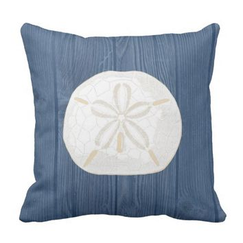Sand Dollar Cream Vintage Blue Wood Pillow