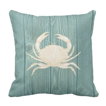 Crab Cream Vintage Aqua Wood Pillow
