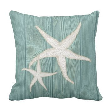 Starfish Cream Vintage Aqua Wood Pillow