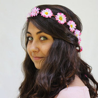Neon Pink Daisy Crown - Hot Pink Tipped Daisy Chain Hair Wreath - EDC, Summer Rave, Rave Wear