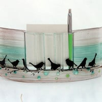 Fused Glass memo pen holder Organizer. calm pink bird landscape.
