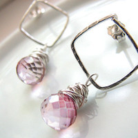 Pink Quartz Earrings, Pale Pink Mystic Quartz, Handmade Sterling Silver Hammered Post Earrings