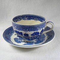 Wood and Sons - Cup and Saucer - Willow Pattern - 1930s 1940s